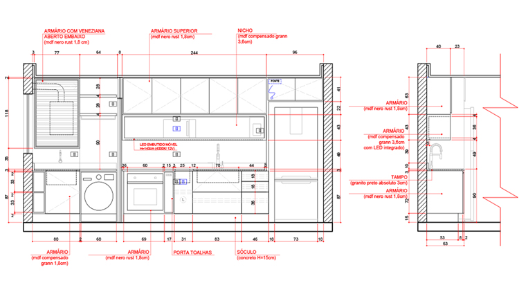 Detalhamento Cozinha Marcenaria Projeto Executivo