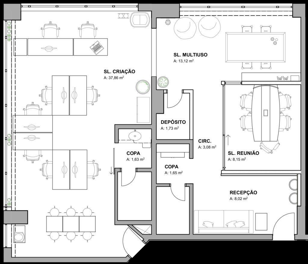 Planta baixa de layout - Projeto para Agência WDK pensado na expansão da empresa.