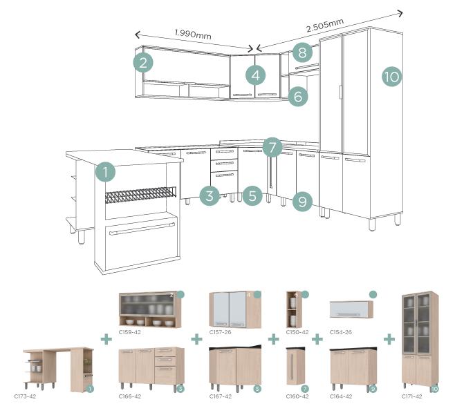Exemplo de módulos de móveis